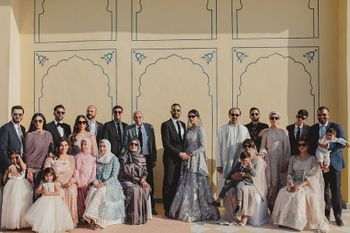 Family portrait at a wedding