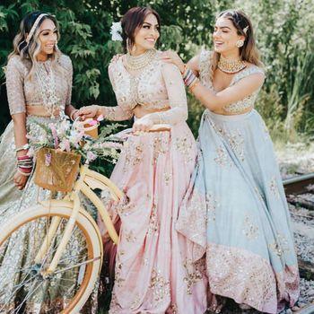 Light Blue Bridal Lehenga Photo bride with bridesmaids