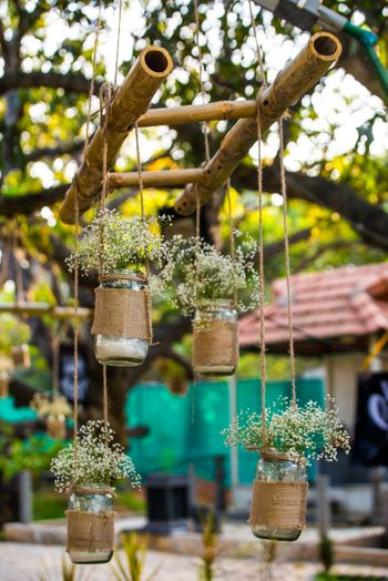 Hanging Mason Jars Decor with Flowers