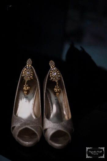 Silver Peep Toes and Gold Kundan Earrings