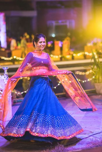 Royal Blue and Pink Twirling Lehenga