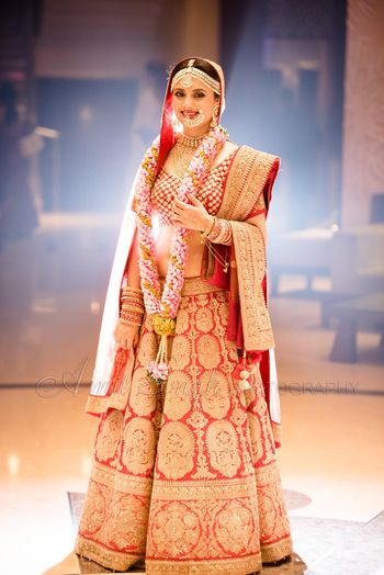 Red with Gold Work All Over Lehenga