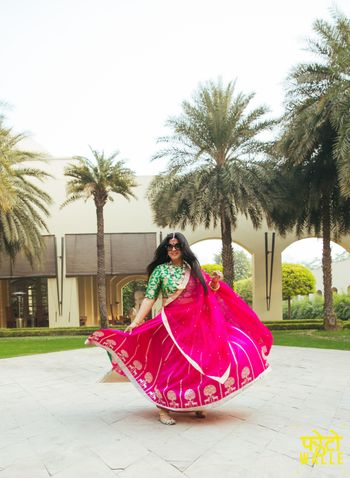 Parrot Green and Pink Twirling Lehenga