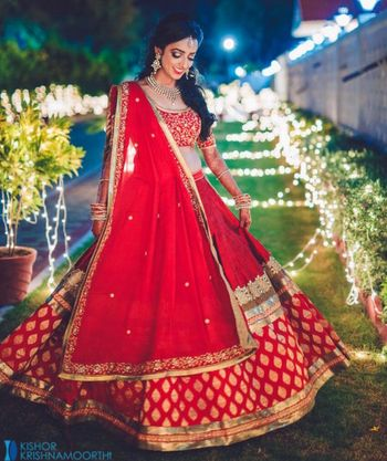 Red and Gold Brocade Twirling Lehenga