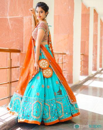 Turquoise and Orange Lehenga