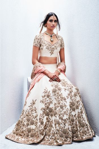 White Lehenga with Silver Zardosi Work and Pink Dupatta