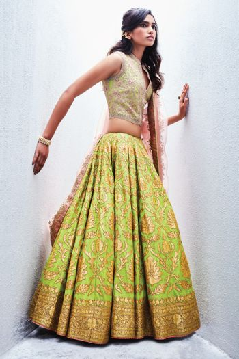 Fluorescent Green Lehenga with Gold Work