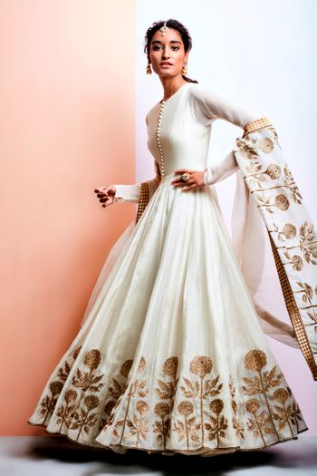 Off White Lehenga with Copper Floral Embroidery
