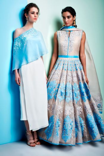 WHite and Light Blue Lehenga