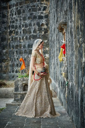 Photo of Light Gold Shimmer Lehenga