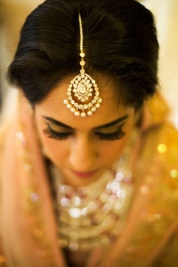Gold Maangtikka with Diamonds and Pearl Drops