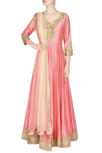 Pastel Pink Anarkali with Gold Border and Cream Dupatta