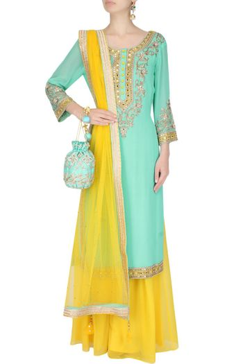 Mint Blue Kurta with Yellow Skirt