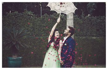 Pre Wedding Shoot with Lace Umbrella and Rose Petals