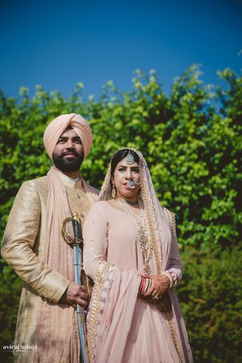 Pastel Pink Sikh Couple Shot