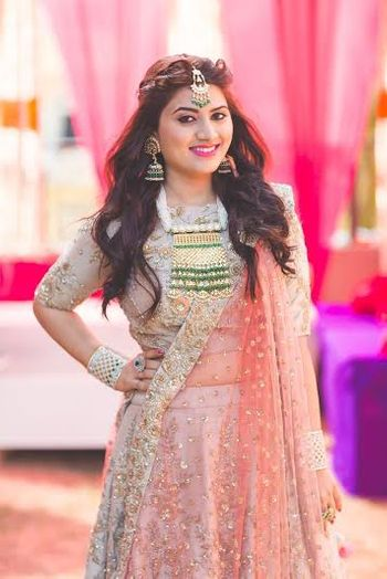 Pastel Pink Sequins Lehenga with Gold Necklace