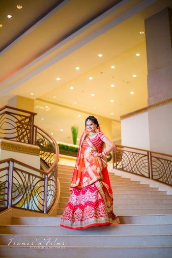 Bride in Red Lehenga and Double Dupatta