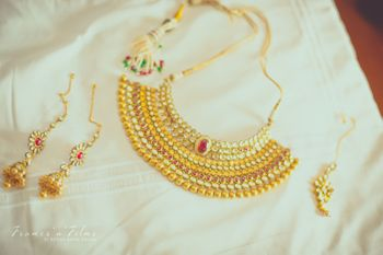 Gold Traditional Necklace with Colorful Maangtikka