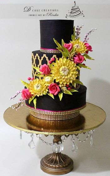 black three tiered wedding cake