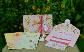 Photo of invitation cards floral print cards