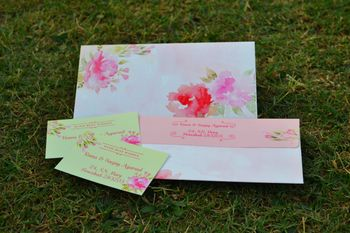 Photo of Floral print invitation cards with watercolor print