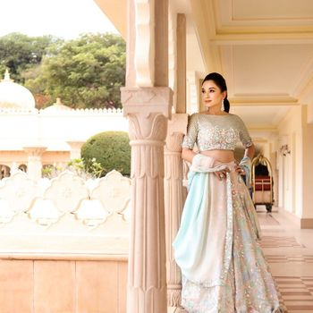 Light Blue Outfits Photo Offbeat bridal lehenga