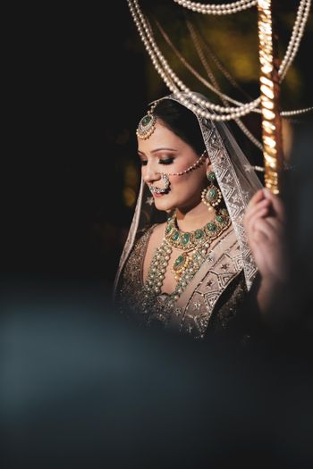 Pretty bridal portrait during her entry