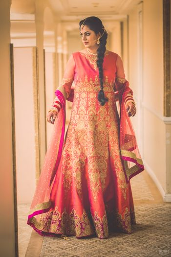 Blush Peach Floor Length Anarkali with Zari Work