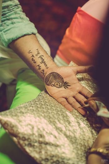 Hand Mehendi Design with Personal Message on Groom