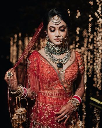 Photo of Gorgeous bridal portrait clicked on the wedding day