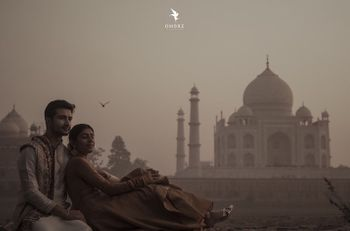 A pre-wedding shoot of the couple with the Taj Mahal in the background