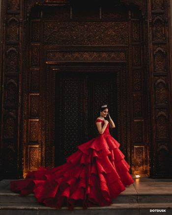 Photo of Bride in a red gown