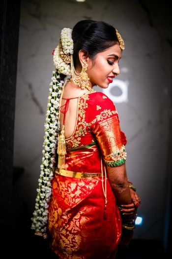 A traditional South Indian bridal hairstyle