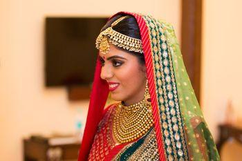 Candid Smiling Bride in Light Green Dupatta