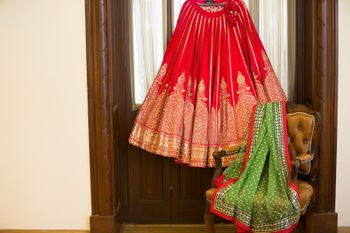 Red and Gold Hanging Lehenga with Parrot Green Dupatta
