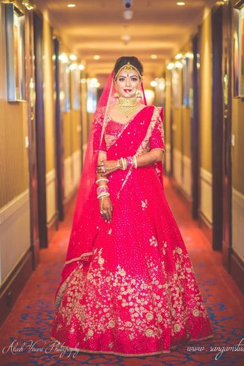 Red minimal sequin work bridal lehenga