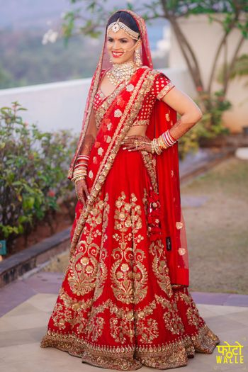 Red Bridal Lehenga with Gold Zari Embroidery
