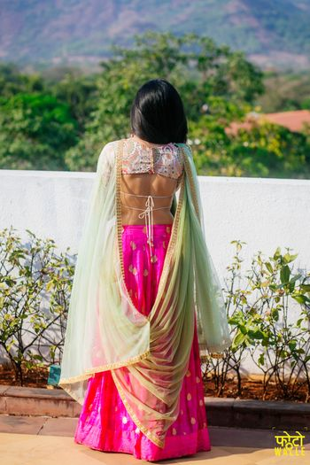 Floral Blouse and Hot Pink Lehenga