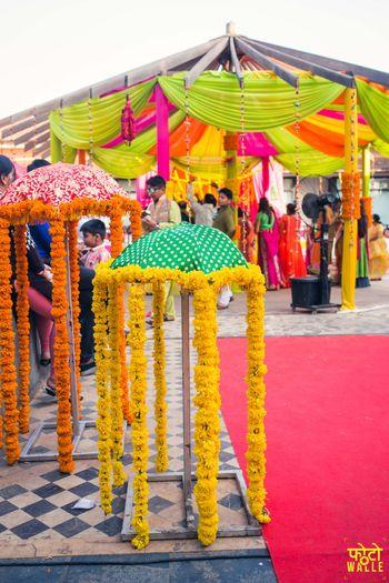 Orange and Yellow Genda Phool  Umbrella Mehendi Decor