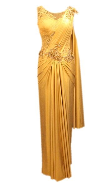 sleeveless gold cocktail sari