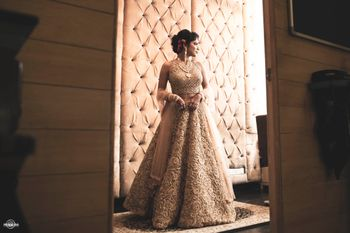 Gold Self Work Shimmer Lehenga