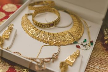 Gold Bridal Jewelry Set with Green and Red Beads