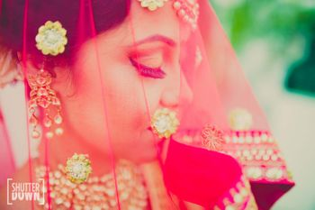 Hot Pink Bride Through the Veil Shot