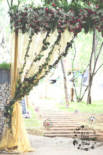 Pink and White Floral Curtain with Yellow Drapes