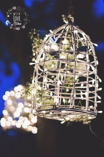 Silver Bird Cage Decor with Fairy Lights