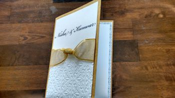 white and gold invitations 3d cards with gold ribbon