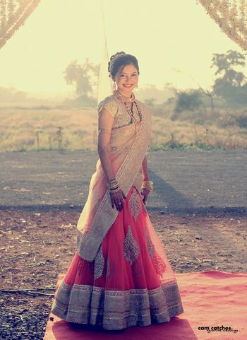 Photo of Coral Light Lehenga with Silver Zardozi Work