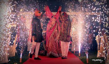 Photo of Fireworks During Bridal Entry Under Phoolon ki Chadar
