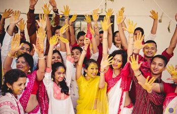 Fun Bridal party haldi photo