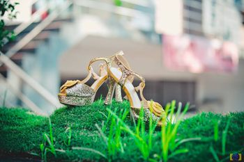 Silver Bridal shoes on grass